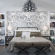 Floral textured damask design glitter wallpaper for living room/bedroom 10M roll