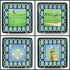"""MWW Market 4.5"""" GOLF Mini Square Plate Set 4Pc Tartan Plaid Sport PGA Mint"""