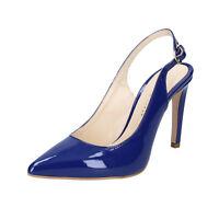 scarpe donna OLGA RUBINI 38 EU decolte blu vernice BS94-38