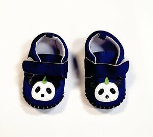 Navy Blue Toddler Moccasins Shoes Faux Leather W/ Panda Bear Size 14 Unisex