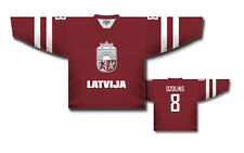Team Latvia Latvija Red Ice Hockey Jersey Custom Name and Number