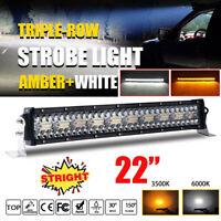 22 Inch 1100W LED Work Light Bar Flood Spot Strobe Driving Lamp Truck Offroad
