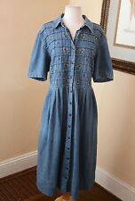 Vintage 90s Floral Embroidered Denim Shirt Dress sz 18 Retro Prairie Hippie Boho