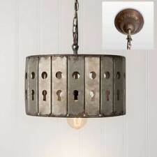 Vintage Rustic Distressed Gray Keyhole Pendant Hanging Light Fixer Upper Chic