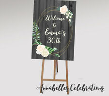 Printable Welcome Sign 30th Birthday  / 21st / 40th / Rustic Wooden Floral