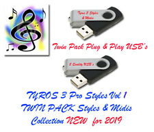 Yamaha Tyros 3 Pro Midis with Styles. New for 2019. Vol 1 and 2 Twin Pack USB.