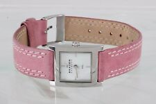 SKAGEN DENMARK MOTHER OF PEARL FACE PINK LEATHER BAND WRIST WATCH 2177B