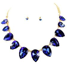 HUGE Pear SAPPHIRE BLUE Cz Crystal Tennis Statement Necklace Stud Earring Set