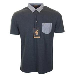 New Men's Gabicci Vintage Polo Shirt Short Sleeve Button Down Collar Large