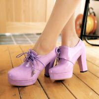 Women's PU Leather Round Toe Lace Up Platform Block High Heels Ankle Boots Shoes