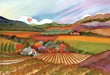 Napa Valley golden star farms in the Vineyard Print - Wine Country Watercolor-