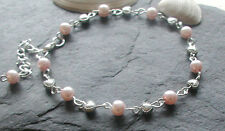 Baby Pink Glass Pearl Beads Hearts Anklet Ankle Bracelet Valentine Gift