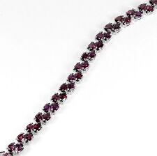 Sterling Silver 925 Genuine Rhodolite Garnet Two Row Tennis Bracelet 7.5 Inch