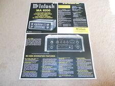McIntosh MA 6200 Amplifier Brochure, 4 pg, Specs, Info