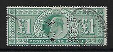 GB KEVII 1902 £ 1 aburridos Azul Verde SG266 VFU con Oval Regd & perfined i.h.c & co