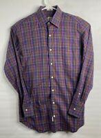 Peter Millar Men's Button Front Shirt Size S Cotton Long Sleeve Plaid