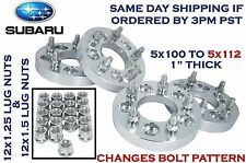 """4 PC 5x100 MM TO 5x112 MM CONVERSION WHEEL SPACERS ADAPTERS 1"""" THICK 25 MM"""