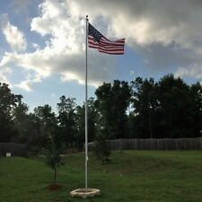 30' FOOT SECTIONAL ALUMINUM FLAGPOLE, HOLDS 2 FLAGS, Gold Ball & USA FLAG: 25 20