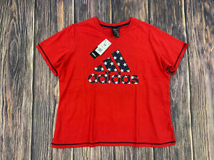 Women's Adidas Red Short Sleeve Shirt Top Athletic Shirt Size 2X XXL NEW