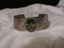 ...Vintage Silver Tone,Palm Trees & Flamingos Cameo Cuff Bracelet...