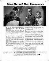 1943 P R Mallory Indianapolis Meet Mr Mrs Tomorrow vintage photo Print Ad  adL47