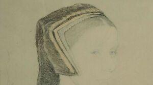 Original Framed Glazed Pencil Drawing Anne Boleyn
