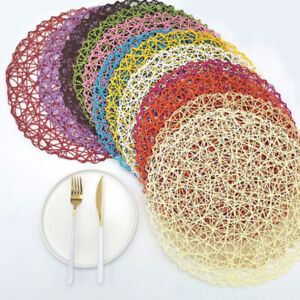 Table Hollow Mat Round Woven Dining Placemat Pads Dinnerware Cup CoasterBDAU