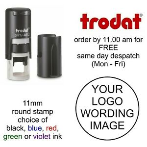Personalised Round rubber stamp Self Inking your logo business company name 11mm