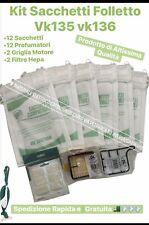 SACCHETTI FOLLETTO vk 135 136 kit 12 sacchetti 12 profumi 4 filtri I MIGLIORI