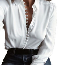 Womens Deep V Neck Tops Office Long Sleeve Loose Blouse Ladies T Shirt Plus Size