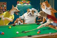 Fun Gifts Home Wall Decor Dogs Playing Pool billiards Painting Printed On Canvas