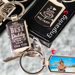 Personalised  engraved/photo printed chrome fathers Day gift keyring/keychain ❤❤