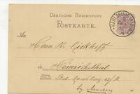 Ganzsache Postkarte 5 Pfg Krone, n. Heinrichsthal, Karlsruhe 1887