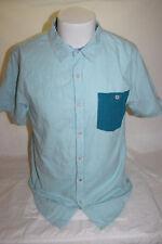 Modern Amusement Aqua Blue Short Sleeve Button Front Shirt Size Medium