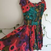 Vtg 80s Dark Floral Geometric Buttoned Full Dress S-M Cap Sleeve Rayon Romantic