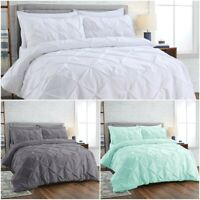 Luxury 100% Egyptian Cotton Pintuck Duvet Cover Double King Bedding Quilt Sets