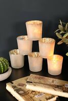 Set of 6 Frosted White Tea Light Glass Votive Candle Holders Table Setting Decor