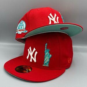 Yankees Liberty & 27 World Championships 59FIFTY New Era Red Hat Mint Bottom