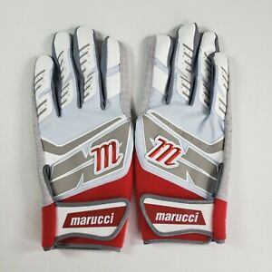 Marucci Pair Of Adult Large Baseball Batting Gloves Red White