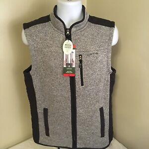 Orvis Mens Fleece Full Zip Sweater Outdoor Vest W/Media Pocket Grey Medium NWT