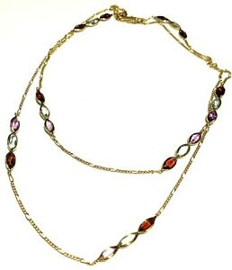 Rabbani 14k Yellow Gold Color Stone Necklace 30""