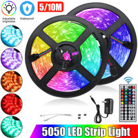 10M RGB 5050 Waterproof LED Strip light SMD 44 Key US Remote 12V Power Full