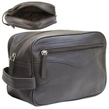 Mens Ladies Soft Genuine Leather Wash Toiletry Shaving Travel Bag Zipped Pockets