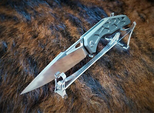 M398 STAINLESS SUPERSTEEL FOLDING KNIFE, 64 HRC TITANIUM SCALES
