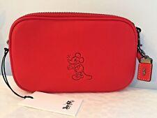 Coach x Disney MICKEY Crossbody Clutch Bag in Red Glovetanned Leather ~ 66150