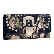 New Realtree Women Camouflage Trifold Leather Wallet Purse Card Bag Notecase