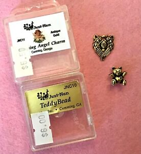 2 Just Nan Embellishments Teddy Bead JNC10 and Sleeping Angel Charm JNC11