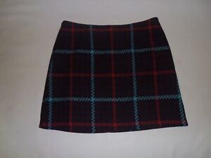 Tu Burgundy, Red and Turquoise Check Skirt size 16