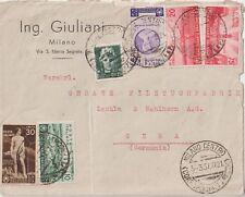 ITALIA 1937 ORAZIO MULTI AFFRANCATA SU LETTERA DA  MILANO PER LA GERMANIA