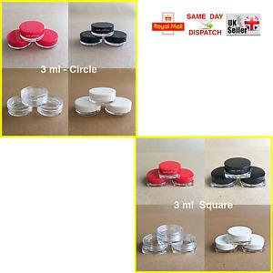 5 10 15 20 25 > 100 CIRCLE & SQUARE 3ml SCREW TOP JAR POT CONTAINER SAMPLE CREAM